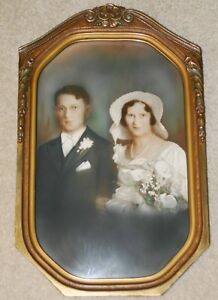 Vintage 11 25 X 18 5 Art Deco Picture Frame Wood Curved Glass Wedding Photo