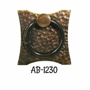 Drawer Door Pull Antiqued Hammered Brass Mission Arts Crafts Ring Pull