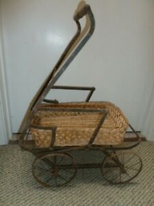 Vtg Victorian Doll Carriage Baby Doll Stroller Wicker Wrought Iron Wood Buggy