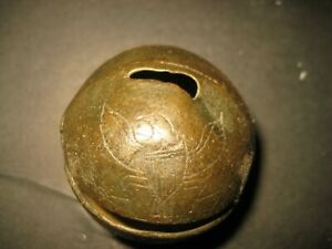 Early 1800 S 2 1 4 Diameter Brass Sleigh Bell With American Eagles Decoration