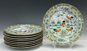 Chinese Porcelain Luncheon Plate For Dinner Service Hand Painted Rooster Design