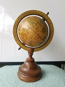 Antique World Globe Map Decor 10 Tall Wooden Base Made In Italy