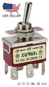 Heavy Duty Dpdt On off on Toggle Switch 20a 125v 15a 250v Spade Terminals 23a