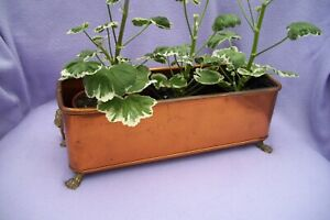 Vintage Copper Planter With Lion Paw Feet Brass Handles 355mm Long X 132mm W
