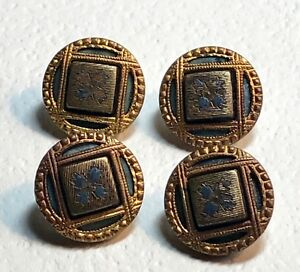 4 Victorian Metal Picture Buttons Square In A Circle Design