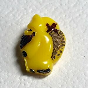 French Goofie Button Vintage Yellow Santa With Painted Brown Accents