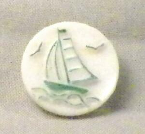 Vintage Milk Glass Button Green Sailboat Hand Painted Nautical 6