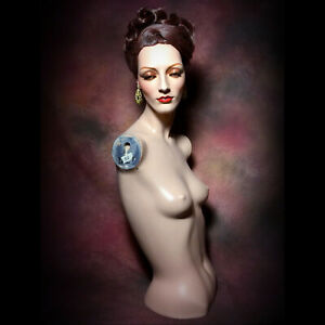 Decter Mannequin Wig Earring Hat Display Bust Female Realistic Creepy Oddity Vtg