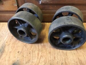 Antique Industrial Steam Engine Cart Wheels Set Of 4 Gas Engine Hit Miss Trucks
