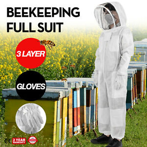 3 Layers Beekeeping Full Suit Astronaut Veil W Gloves White Cotton Beekeeper