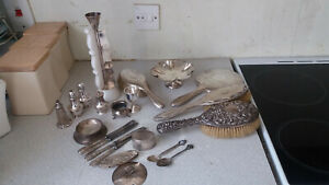 Job Lot Sterling Silver Items Scrap Resell Brushes Mirrors Candlesticks Etc