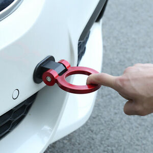 1 Piece Universal Car Red Ring Track Racing Tow Hook Look Decoration Abs Plastic