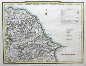 Yorkshire North Riding By Roper Cole Genuine Antique Map Hand Colour C1810