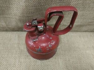 Vintage Red Metal Oil Can Justrite Mfg Company Chicago Safety Can