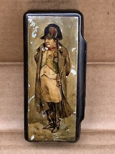 Antique Horn Hand Painted Military Napoleon Portrait Snuff Box