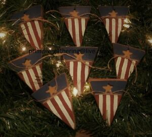 8 Primitive Wood Americana Patriotic Flag Pennant Ornies Ornaments