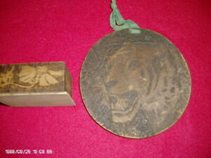 Antique Flemish Art Pieces A Round Wooden Carving And A Small Wooden Box W Lid
