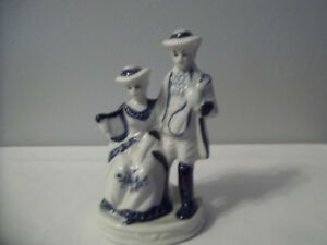Vintage Porcelain Colonial Victorian Couple W Musical Instruments 6 Tall