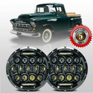 Dot 7inch Round Cree Led Headlights Pair Hi lo Beam For Chevy Pickup Truck 3100