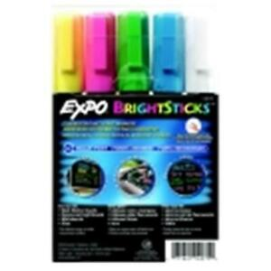 Expo Bright Sticks Wet Erase Marker Assorted Fluorescent Color Pack 5