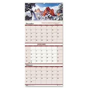 House Of Doolittle 3638 Scenic Landscapes Three months per page Wall Calendar