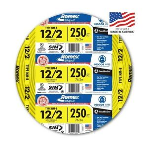 Southwire Romex 250 12 2 Wg Non metallic Cable Copper Electrical Wire Nm b 12 2