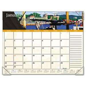 At a glance Dmd14532 Panoramic Harbor Views Monthly Desk Pad Calendar 22 X 17