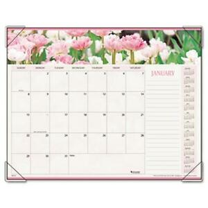 At a glance 89805 Panoramic Floral Monthly Desk Pad Calendar 22 X 17