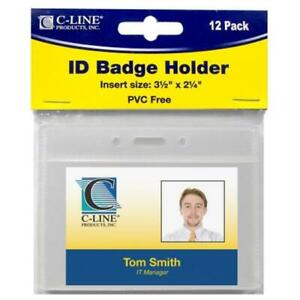 C line Products Inc 89732 Horizontal Id Badge Holders 12 Count Pack Of 5