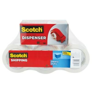 Scotch 076374 Heavy Duty Shipping Tape With Dispenser Clear Pack Of 6