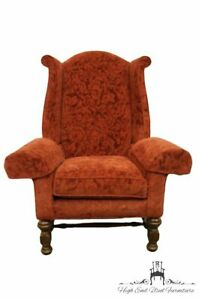 Sherrill Furniture Red Maroon Upholstered Wingback Accent Arm Chair