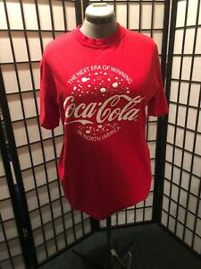 COCA COLA t-shirt women L Winning In North America  Cotton Red Short Sleeve
