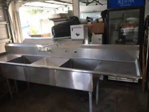 3 Compartment Commercial Sink 24x24 Bowls