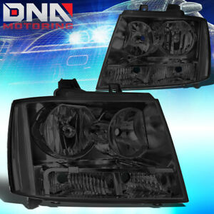 For 2007 2014 Chevy Avalanche Suburban Smoked Housing Clear Side Headlight Lamps