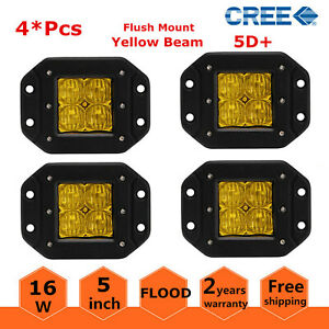 5d 4x 16w Led Lights Flush Mount Driving Work 4wd Fog Light Yellow Flood Amber