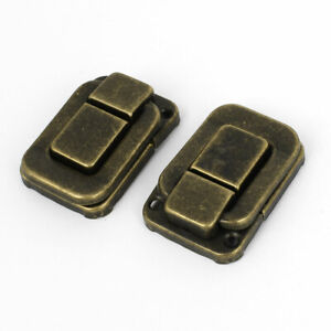 2 Pcs Necklace Box Case Lock Hook Hinge Latch Hasp Sets Bronze Tone W Screws