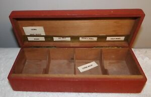 Vintage Cigarette Sample Box Hinged Sectioned Box Old Red Paint Tall Ship