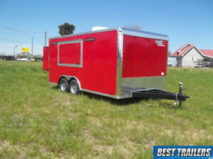 8 X 16 Enclosed Concession Trailer Vending Cargo Red W Window W Sinks Finished
