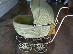 Antique Hedstrom Green Baby Wicker Carriage 1920 S Wood Spokes Brake Nice