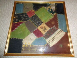 Orignal Framed Section 1850 S Crazy Quilt Embroidered Repurposed Fabric Gold Woo