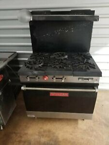 Vulcan Commercial Gas 6 Burner Range W Lower Oven And Metal Overshelf 1100 Obo