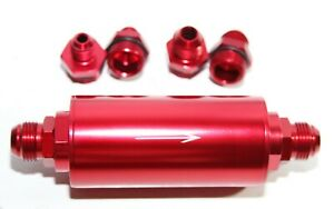 40 Micron High Flow Fuel Filter Red An6 An8 An10 Fitting Cleanable Filter