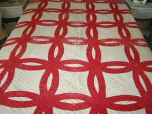 Antique 2 Color Turkey Red White Heavy Cotton Cutter Quilt Wedding Ring