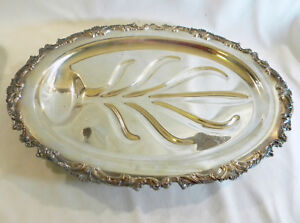 Vintage Ascot Sheffield Reproduction Community Footed Silver Plate Oval Serving