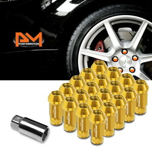 M12x1 5 Gold Jdm Open End Cone Seat Hex Wheel Lug Nuts extension 25mmx50mm 20pc