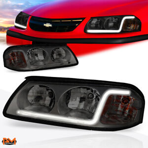 For 00 05 Chevy Impala Led Drl Smoked Lens Amber Corner Headlight Replacement