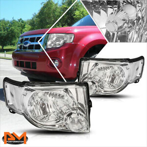 For 08 12 Ford Escape Suv Headlight Lamp Replacement Chrome Housing Clear Corner