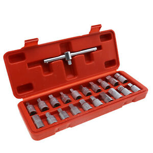 21pc Oil Drain Sump Plug Key Socket Set Gearbox Axel Removal Wrench Tool Kit