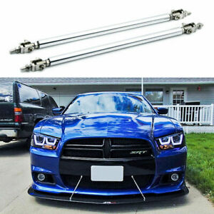 Adjustable Front Bumper Lip Splitter Strut Rod Tie Support Bar For Dodge Charger