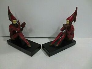 Excellent Pair Of Art Deco J B Hirsch Gerdago Girl Pixie Bookends With Ivorine
